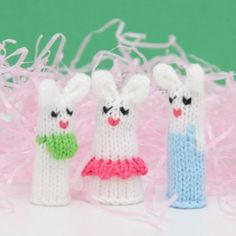 Bunny Family Finger Puppet Set by WeeKnit
