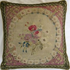 18TH  CENTURY  FRENCH  TAPESTRY  PILLOW  17X17