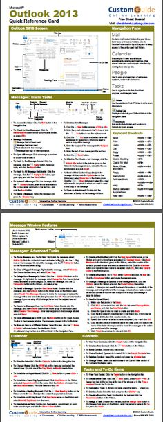 Free Outlook 2013 Quick Reference Card. http://www.customguide.com/cheat_sheets/outlook-2013-cheat-sheet.pdf