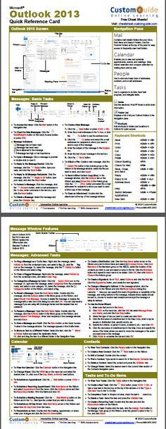 Free Cheat Sheet 2013 http://www.customguide.com/cheat_sheets/outlook-2013-cheat-sheet.pdf