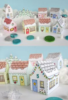 Printable Colour In Advent Calendar Village - make your own mini house boxes to fill with sweets or small gifts - tutorial on Hazel Fisher Creations blog. More