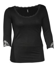 Yppig Ribbed top with lace