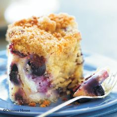Blueberry 'n' Cheese Coffee Cake from Gooseberry Patch Recipes. Moist blueberry-cream cheese cake with a lemon-sugar crumb topping.
