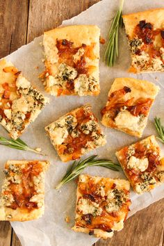 These Blue Cheese and Caramelized Onion Squares are the perfect cocktail appetizer. Watch them disappear in a flash!