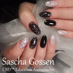 Back in Black #CND™ #SHELLAC™ brand 14+ day nail color #BlackPool #Negligee  #stamps. #nailart #naildesign #stampingnailart #lace #CNDSHELLAC