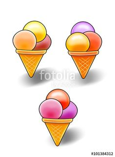 "Download the royalty-free photo ""Ice cream, Vanilla Ice Cream and Fruit in cone on white background, clip art. Digital Illustration"" created by sofiartmedia at the lowest price on Fotolia.com. Browse our cheap image bank online to find the perfect stock photo for your marketing projects!"