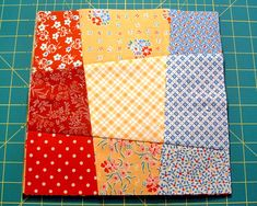 When it comes to free quilt block patterns, learning how to make a nine patch quilt block pattern is the type of project every quilter should learn how to master. When you combine nine patch quilt block variations into one quilt, the results are alwa 9 Patch Quilt, Crazy Quilt Blocks, Crazy Quilting, Crazy Block, Quilting Tutorials, Quilting Projects, Quilting Designs, Quilting Tips, Diy Projects