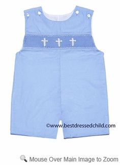 Petit Bebe by Anavini Baby / Toddler Boys Blue Poplin Smocked Crosses Shortall