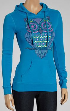Turquoise Graphic Owl Hoodie - love the cut and colour. Dunno about the graphics