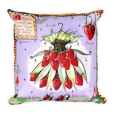 NEW! Strawberry pillow now etsy! from the Art of Wendy Costa
