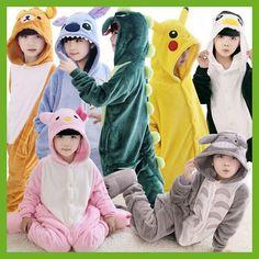 New Baby Boys Girls Pajamas warm Autumn Winter Children coral fleece cute animal Stitch panda cartoon Pajamas for Kids pijamas