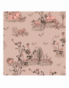 Brown Pink Woodlands Wallpaper Sample