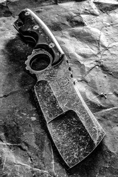 Half Life Knives ringed Battle Cleaver, made from stonewashed .300 CPM M4 Rex with Voodoo Resins scales...