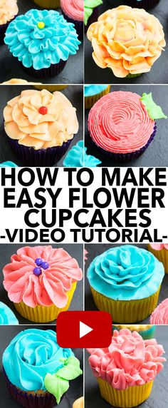 Learn how to decorate cupcakes at home with this video tutorial. These easy cupcake decorating techniques require cupcakes, buttercream and decorating tips. Frosting Techniques, Frosting Tips, Cupcake Frosting, Cupcake Cakes, Buttercream Frosting, Fondant Cakes, Kid Cakes, Frost Cupcakes, Flower Cupcakes