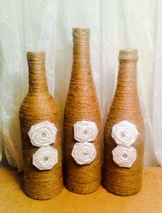 Twine Wrapped Wine Bottle Vase by RusticallyYours on Etsy, $25.00