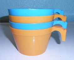 Four vintage plastic coffee cups by SouvenirAndSalvage on Etsy, $6.00