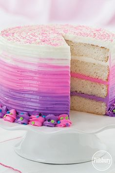 Bold Pink and Purple Ombre Cake from Pillsbury®️ Baking.