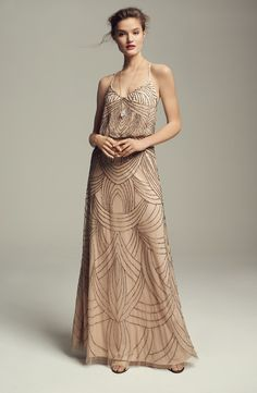 Adrianna Papell - Beaded Chiffon Blouson Dress