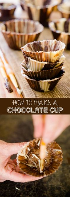 Here's how to make an easy chocolate cup! Stuff it with your favorite peanut butter, candies or ice cream. It's a fun toddler activity that is simple to make. For more simple baking desserts recipes and homemade sweet treats, check us out at #cupcakeproje