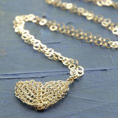 Heart pendant necklace, wire crochet  gold charm necklace , valentine, long chain. $47.00, via Etsy.
