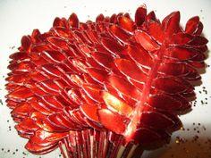 RED Paper Leaves Millinery Flower Metallic Vintage DIY Christmas Supplies by VintagePartyPaper