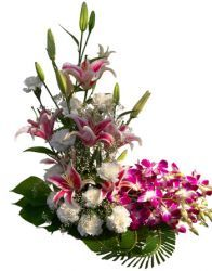 Exclusive designer arrangement of 3 fresh imported oriental pink lilies and 15 white carnations with 5 purple orchids - Send this exclusive gift to your loved ones through us.