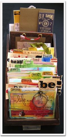 "instead of an art journal or smash book, a note card for every day in a recipe box. Also would make an interesting artsy version of ""Encyclopedia of an Ordinary Life"" type Book of Me. Art Journal Pages, Art Journals, Visual Journals, Smash Book, Up Book, Book Art, Altered Books, Altered Art, Altered Cigar Boxes"