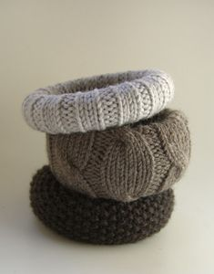 knitted bracelets... great idea to use old sweaters