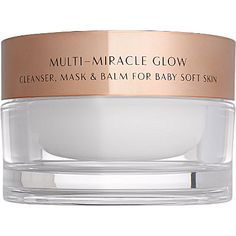Charlotte Tilbury Multi-Miracle Glow cleanser, mask & balm •Deep Cleansing Wash: A cashmere-soft cream that transforms into an oil on skin to purify, hydrate, prevent wrinkles and clear make-up.  •Overnight Regenerating Facial Mask: Apply a thin layer all over face. Massage in. Leave on for 10 minutes, or overnight for best results. •Body Of An Angel Balm: A 'go anywhere' SOS remedy for cuticles, elbows, heels and shins.