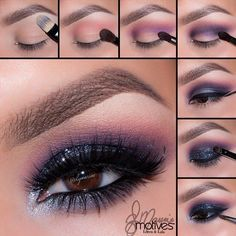 Make up Smokey Eyes with these tips and instructions Mit diesen Tipps und Anleitungen schminken Sie Smokey Eyes perfekt! smokey eyes make up with 4 colors instruction pictures up - Smoky Eye Makeup Tutorial, Smokey Eye Makeup, Eyeshadow Makeup, Makeup Brushes, Glitter Makeup, Purple Makeup, Purple Eyeshadow, Matte Eyeshadow, Eyebrow Makeup