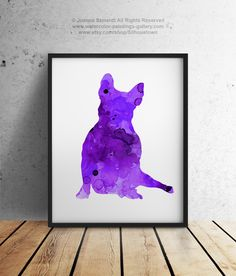 French Bulldog Poster Dog Art Print Purple Sitting Frenchie Illustration Wall Art by Silhouetown on Etsy