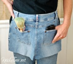 Repurposed Jeans Pocket Apron via KnickofTime.net