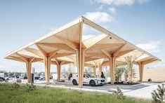 Gallery of Ultra Fast Charging Station for Electric Vehicles / Cobe - 1 Wood Architecture, Sustainable Architecture, Sustainable Design, Pavilion Architecture, Residential Architecture, Contemporary Architecture, Contemporary Art, Design Modular, Luigi Snozzi