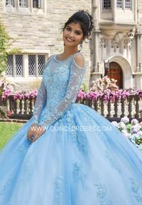 Xv Dress, Ball Gown Dresses, 15 Dresses, Dresses With Sleeves, Wedding Dresses, Lace Dresses, Homecoming Dresses, Fashion Dresses, Light Blue Quinceanera Dresses