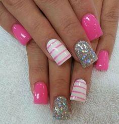 HOT - Pink and Glitter Nails - Be Beautiful
