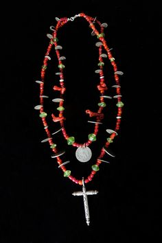 Antique Silver Cross, Mexican & Guatemalan Coins, Vintage Trade Bead, & Coral Chachal Necklace from Guatemala