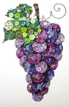 Druif decoraties  Cadeau voor de wijnliefhebber  Knop Art