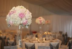 tall peony centerpiece - white and pink