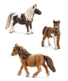 Look what I found on #zulily! Shetland Pony Family Figurine Set #zulilyfinds