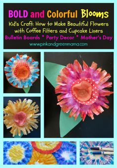Kid's Craft: How to Make Beautiful Flowers with Coffee Filters and Cupcake Liners- pinned by @PediaStaff – Please Visit  ht.ly/63sNt for all our pediatric therapy pins