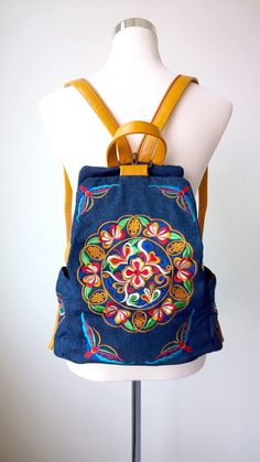 A personal favourite from my Etsy shop https://www.etsy.com/sg-en/listing/258024156/boho-embroidery-backpack-denim-rucksack