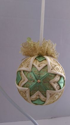 Vintage Christmas Quilted Ornament/Victorian Folded Fabric Christmas ornament/ Quilted no sew fabric Christmas ornament ball by AngelsHandmadeCrafts on Etsy