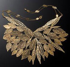 Gold plated necklace bib Leaf Necklace leaf