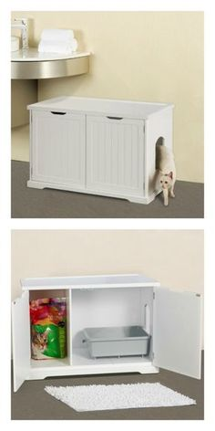 Cat Washroom Bench: a stylish way to hide the litter box and store supplies.