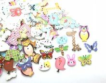 Free shipping -100pcs Mixed 2 Holes pattern cartoons Wood Sewing Buttons Scrapbooking D2267(China (Mainland))
