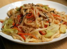 yaki udon is an everyman's stir fried noodle concoction, where besides the noodles, it's anything goes in terms of what you can add. the soft, thick noodles seem to absorb the sauce and serve as a nice counterpoint to the veggies. Stir Fry Noodles, Udon Noodles, Asian Noodles, Asian Recipes, Ethnic Recipes, Japanese Recipes, Japanese Food, Yaki Udon, Fried Udon