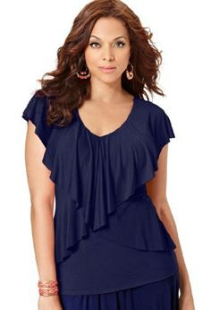 Avenue Plus Size Tiered V-Neck Ruffle Top, Navy