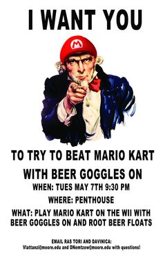 moorereslife:  Can you play Mario Kart on the wii? Sure. But how well can you do it while wearing beer goggles?! Join RAs Tori and Davinica in this challenge and enjoy root beer floats while doing so!  Very Creative