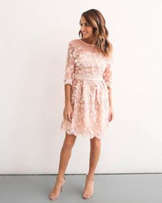 Stun at your next event or wedding festivity in the gorgeous Inherent Beauty Floral Applique Dress. This darling blush pink floral dress has all the designer in