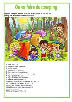 Description image - On va faire du camping Picture Comprehension, Reading Comprehension Worksheets, English Worksheets For Kids, English Activities, English Fun, English Lessons, German Language Learning, Teaching English, Composition D'image